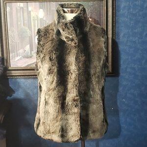 Kristen Blake Faux Fur Vest Soft Fuzzy XL Dark